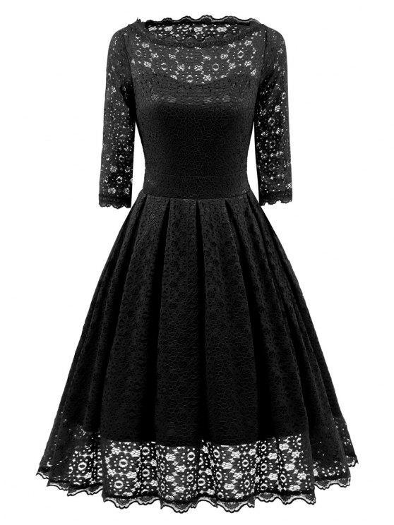 Robe de Soirée Évasée en Dentelle Vintage - Noir L