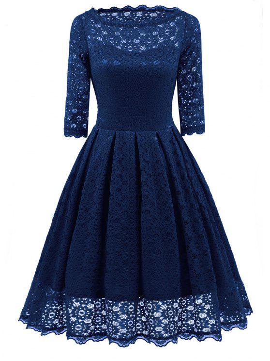 fb873060cf 33% OFF  2019 Lace Vintage Party Fit And Flare Dress In BLUE