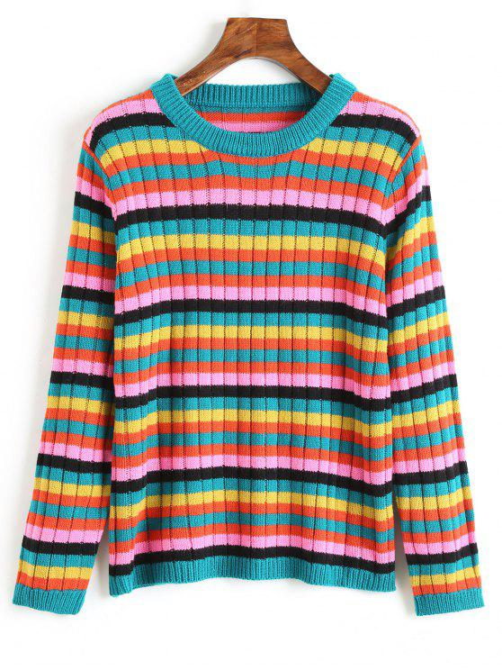 ladies Crew Neck Multicolored Striped Sweater - MULTI L