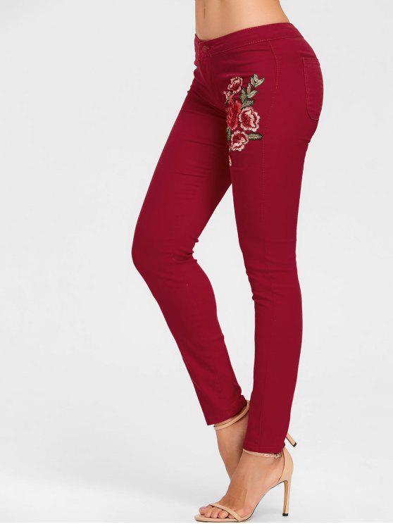Blumen Bestickte Dünne Farbige Jeans - Weinrot 2XL