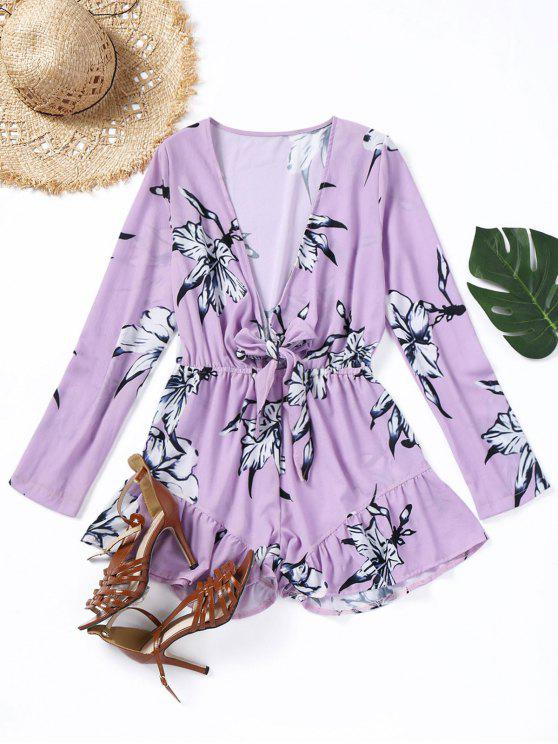 62a6c689562f 51% OFF  2019 Bow Tied Floral Ruffle Hem Romper In LIGHT PURPLE