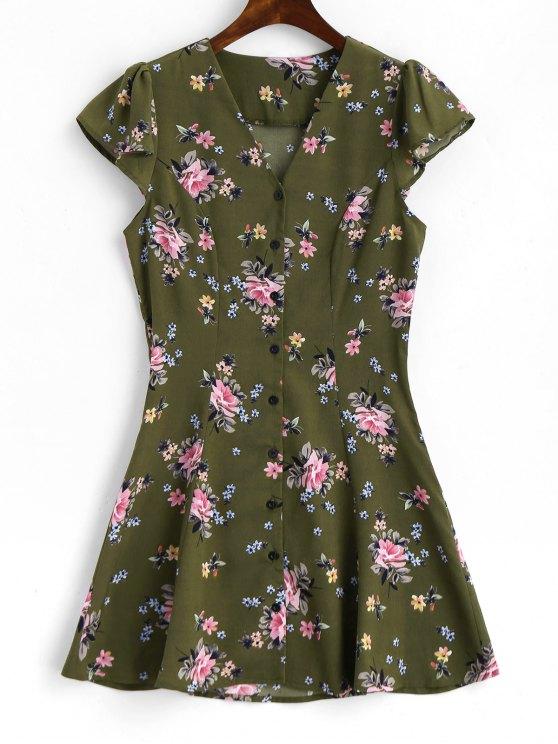 فستان مصغر زر طباعة الأزهار كاب الأكمام - الجيش الأخضر L