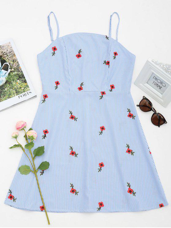 trendy Floral Patched Striped Cami Mini Dress - LIGHT BLUE S