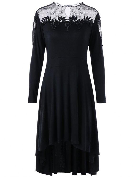 زائد حجم شير أبليكد تراجع تنحنح اللباس - أسود 5XL
