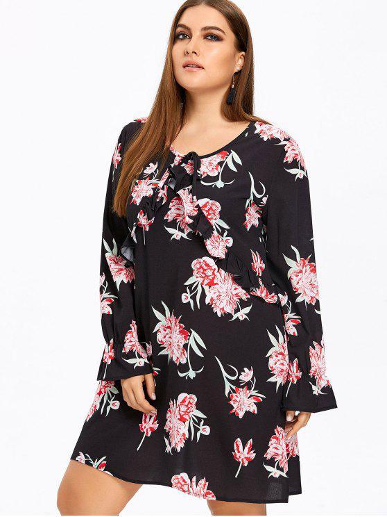 فستان الحجم الكبير طباعة الأزهار كشكش - أسود XL