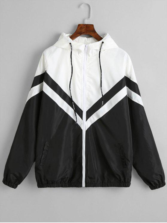 Color Block Zig Zag Windbreaker Jacket BLACK: Jackets & Coats M ...