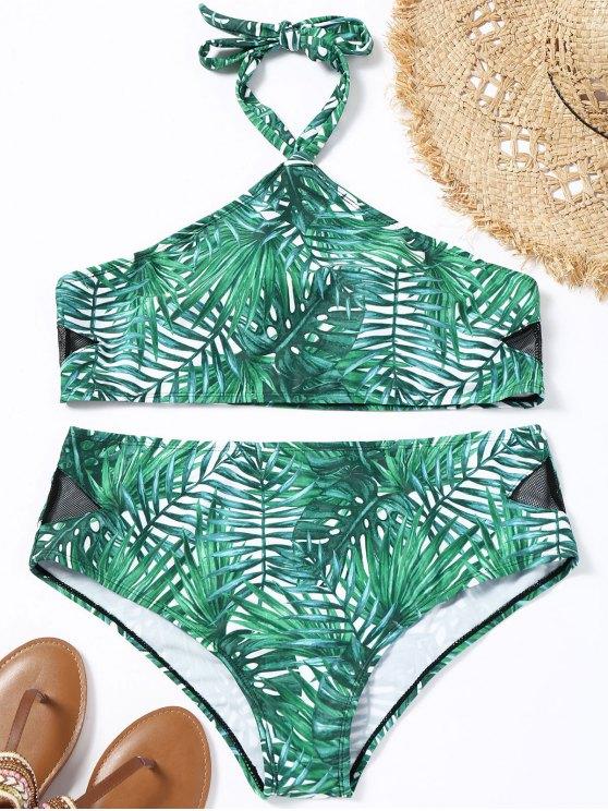 Bikini Plus Size Stampato Di Foglia Con Halter - verde 2XL