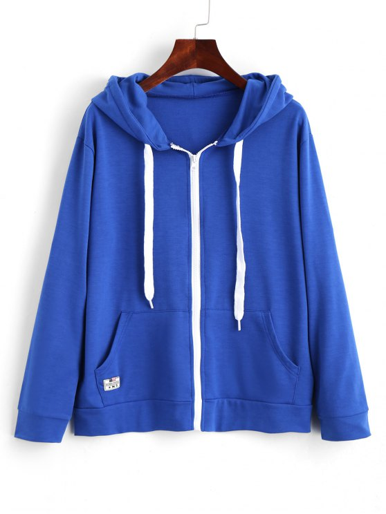 outfit Contrasting Drawstring Zip Up Hoodie - BLUE XL