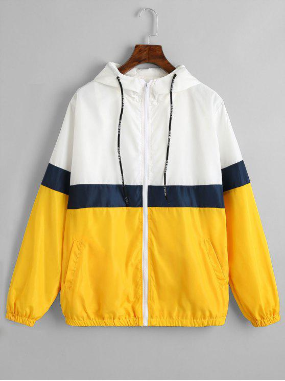 shops Zipper Color Block Windbreaker Jacket - YELLOW M