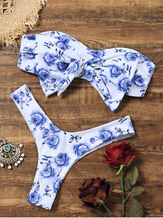 best Bowknot Floral Thong Bandeau Bikini - WHITE S