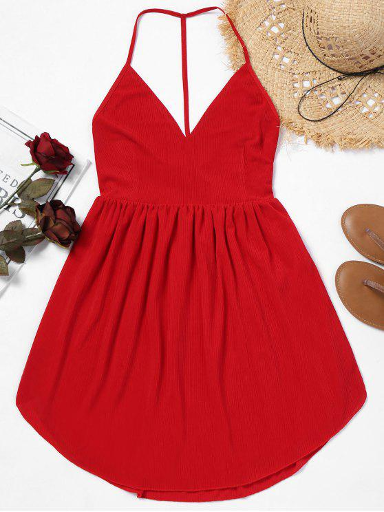 hot Backless Cami Mini Dress - RED M