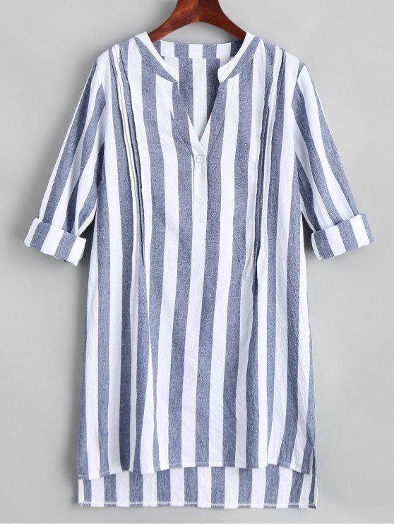sale V Neck Striped Slit High Low Dress - STRIPE L