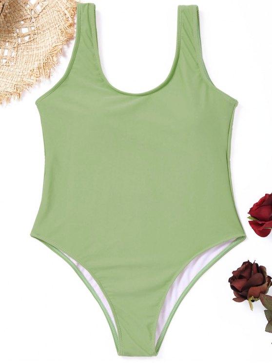 fancy High Cut Padded One-piece Swimwear - SAGE GREEN S