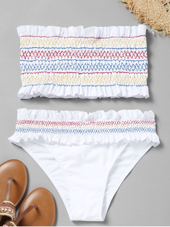 sale Colorful Zigzag Smocked Bikini Set - WHITE S