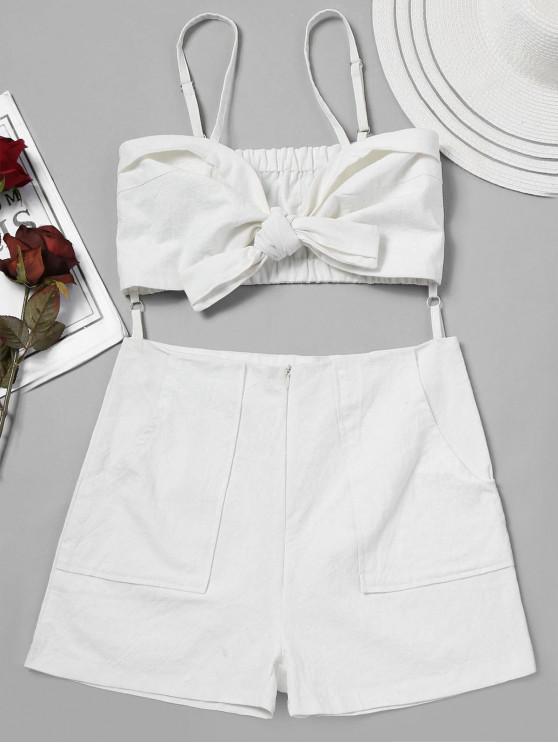 trendy Self Tie Front Cami Romper - WHITE L