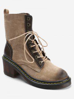 Stitching Chunky Heel Lace Up Boots - Camel 39