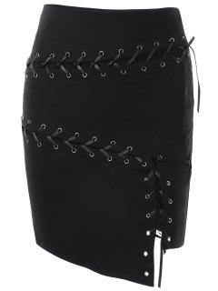 Lace Up Asymmetric Skirt - Black S