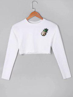 Sequined Pineapple Crop Top - White S