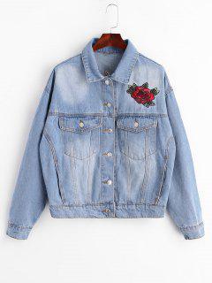 Floral Crane Embroidered Denim Jacket - Denim Blue L