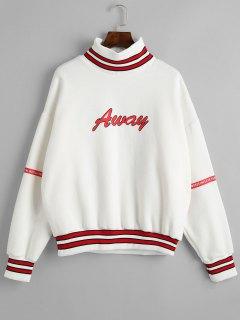 Mock Neck Fleece Lining Sweatshirt - White