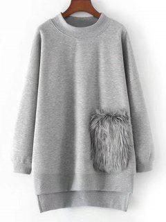High Low Oversized Textured Sweatshirt - Gray S