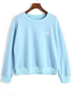 Pullover Embroidered Sweatshirt - Blue Xl