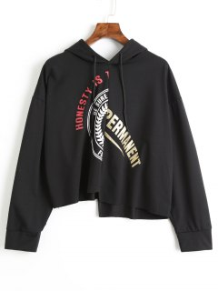 Asymmetric Graphic Hoodie - Black 2xl
