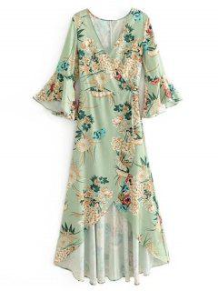Floral Flouncy Sleeve Wrap Maxi Dress - Light Green L