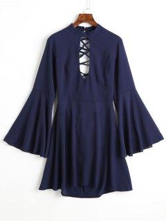Flare Sleeve Keyhole Back Lace Up Dress - Blue M