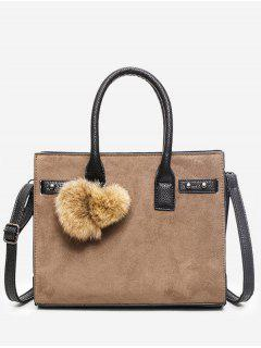 PU Leather Pompoms Handbag With Strap - Brown