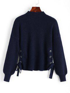 Side - Laternehülsen - Pullover Mit Seitlicher Schnürung - Cerulean
