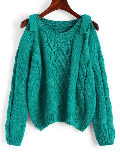 Plain Cold Shoulder Cable Knit Sweater - Sea Green