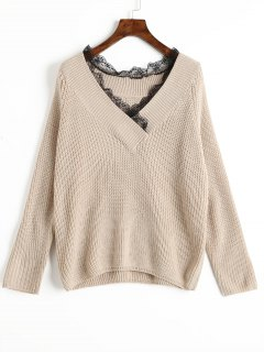 V Neck Lace Trim Sweater - Apricot