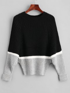 Raglan Sleeve Color Block Batwing Sweater - Black