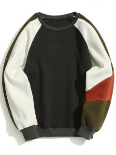 Color Block Fleece Crew Neck Sweatshirt - Dark Grey 2xl