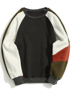 Sudadera Con Cuello Redondo De Lana Color Block - Gris Oscuro Xl