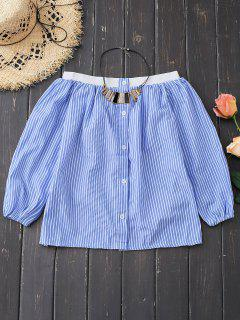 Off Shoulder Button Up Striped Blouse - Blue M