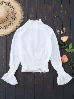 Smocked Ruffle Neck Flare Sleeve Crop Blouse - White S