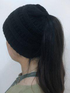 Mixcolor Open Top Knitted Hat - Black