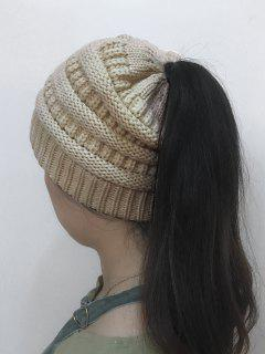 Mixcolor Open Top Knitted Hat - Off-white