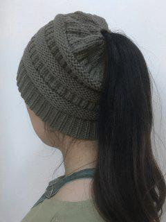 Mixcolor Open Top Knitted Hat - Deep Gray