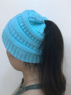 Mixcolor Open Top Knitted Hat - Light Blue
