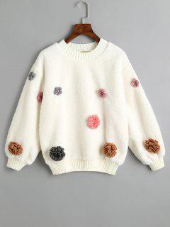 Floral Appliques Shearling Sweatshirt - Off-white L