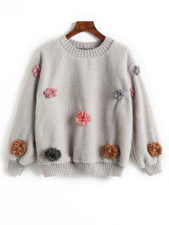 Floral Appliques Shearling Sweatshirt - Gray M