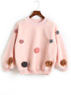 Floral Appliques Shearling Sweatshirt - Papaya M