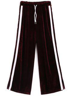 Side Slit Striped Velvet Pants - Purplish Red