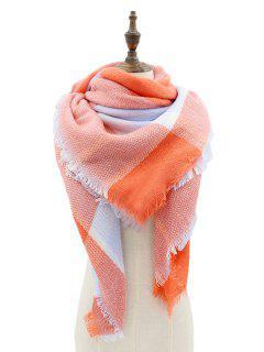 Tartan Pattern Embellished Fringed Chunky Shawl Scarf - Orangepink