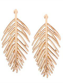 Metal Vintage Leaf Earrings - Golden