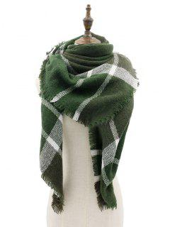 Plaid Pattern Fringed Edge Artificial Wool Shawl Scarf - Army Green