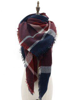 Tartan Pattern Decorated Fringed Shawl Scarf - Deep Red